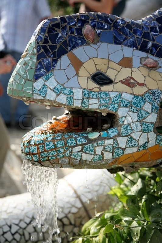 Close-up on mosaic snake sculpture at Park Guell, stock photo