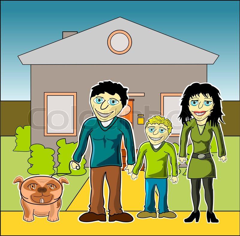 gl ckliche familie mit haus cartoon comic vektorgrafik colourbox. Black Bedroom Furniture Sets. Home Design Ideas