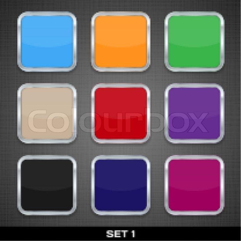 Set mit bunten App Symbol Vorlagen , Buttons , Set Hintergründe 1 ...