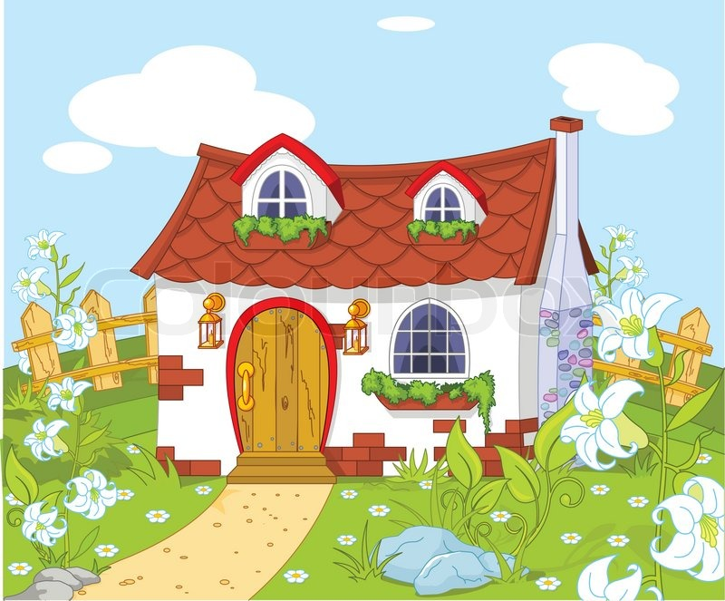 Cartoon Landscape With Cute Little House Stock Vector