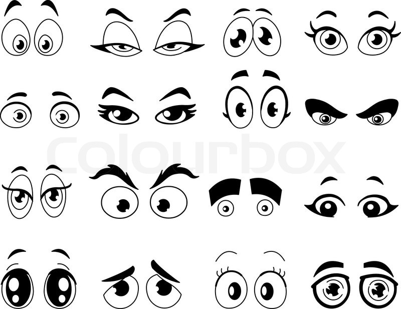 Outlined cartoon eyes set Stock Vector Colourbox