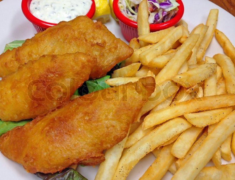 A Plate of Battered Fried Fish Fillets with French Fries, Tartar Sauce and Cole Slaw | Stock ...