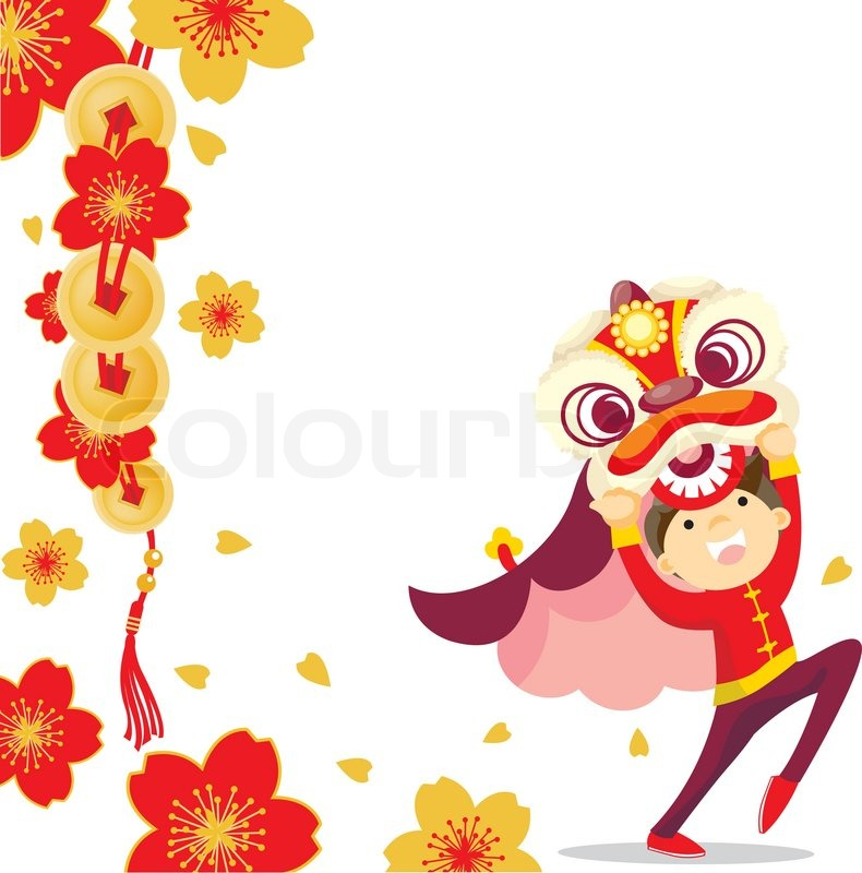 Chinese Lion Dance Vector Lion Dance Vector