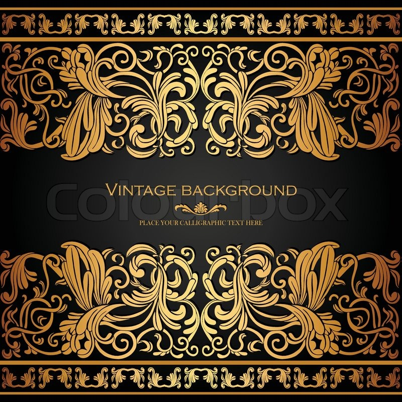 Vintage background, elegance antique, victorian gold, floral ...