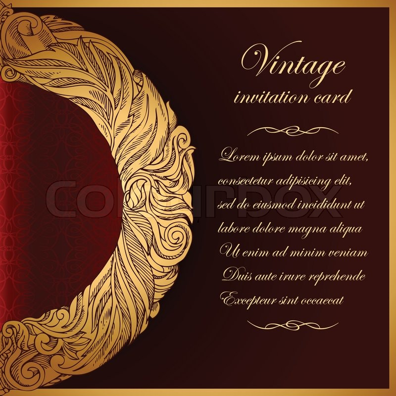 Beautiful Book Cover Letter : Vintage background antique greeting invitation card with
