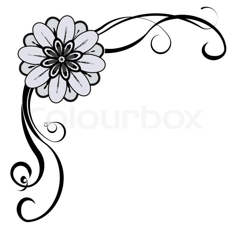 Line Art Flower Corner : Decorative corner stock vector colourbox