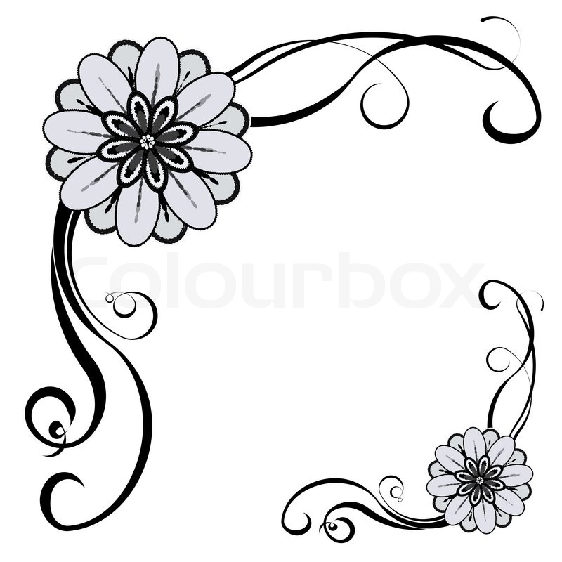 Decorative Black Flower Border Stock Image: Floral Decorative Border, With Space For Text Or Image
