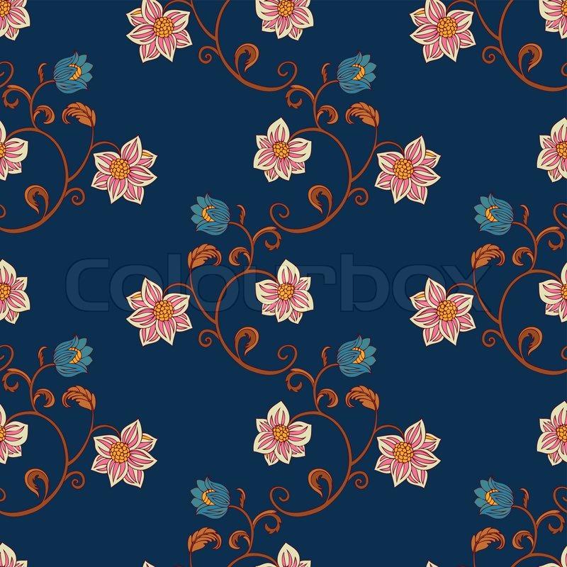 Retro Design Tapeten Muster : Vintage Seamless Pattern Vector Flower Graphic
