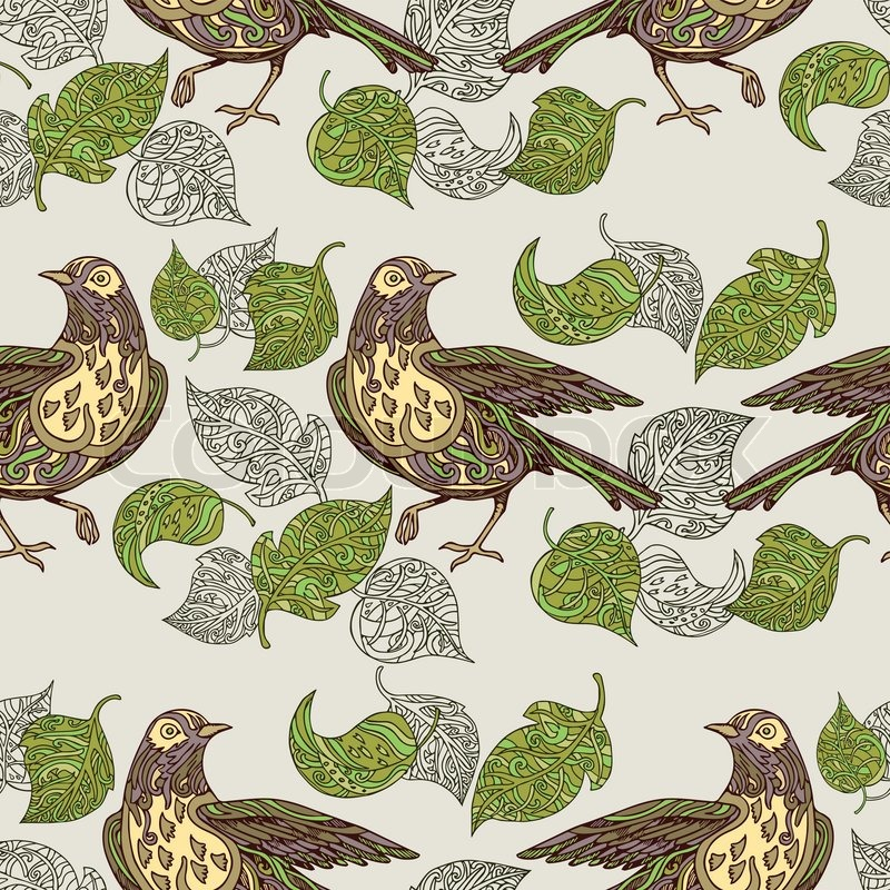 Vintage Background Birds And Leafs Fashion Seamless Pattern Colorful Vector Wallpaper