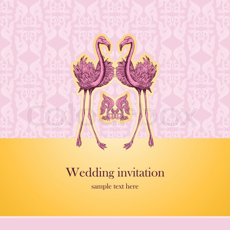 Vintage beautiful wedding invitation greeting card with pink vintage beautiful wedding invitation greeting card with pink flamingos creative template design for congratulations celebration wedding and anniversary m4hsunfo