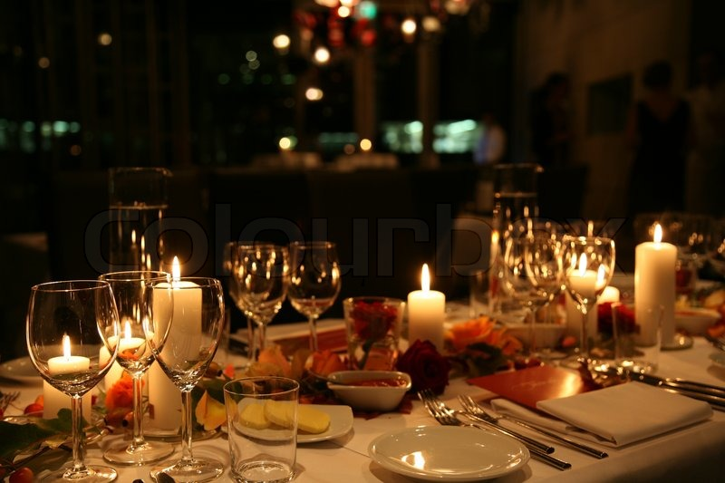 Table Setting For Valentine Dinner Date Stock Photo