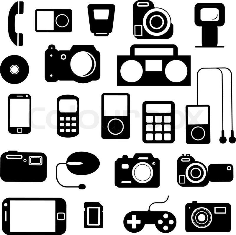 Pricollection Flat Icons Multimedia Symbols Vector Illustrationnt
