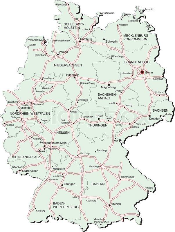Vektorielt Kort Over Tyskland Med Stock Vektor Colourbox