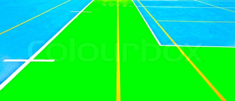 The Line on rubber floor of soccer field, stock photo
