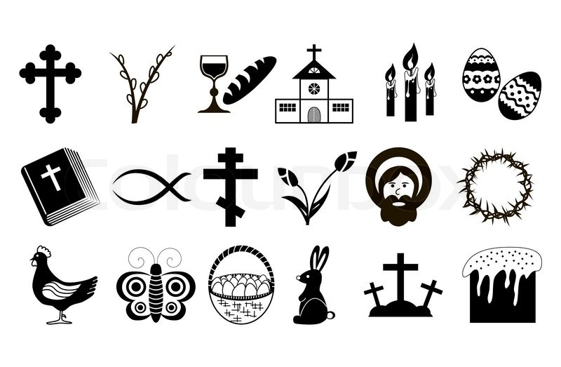 Easter Icons Black And White Vector Stock Vector Colourbox