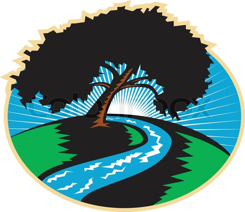Illustration of a pecan tree silhouette with winding river stream and sunburst in background done in retro style, vector