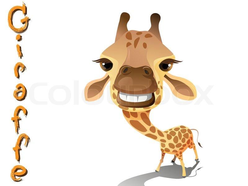 cute giraffe cartoon vector standing on white background stock rh colourbox com girafe vectoriel gratuit giraffe vector silhouette