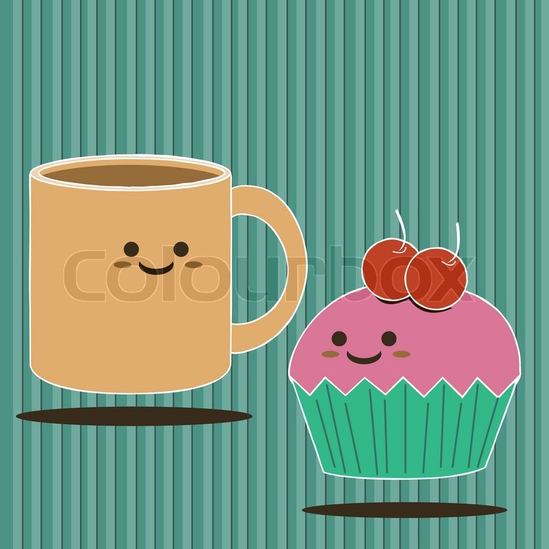 Cartoon Smiling A Cup Of Coffee And Cute Cup Cake Stock