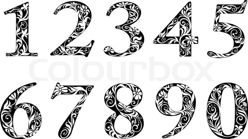 Ziffern und zahlen mit floralen elementen vektorgrafik for Number 7 tattoo gallery