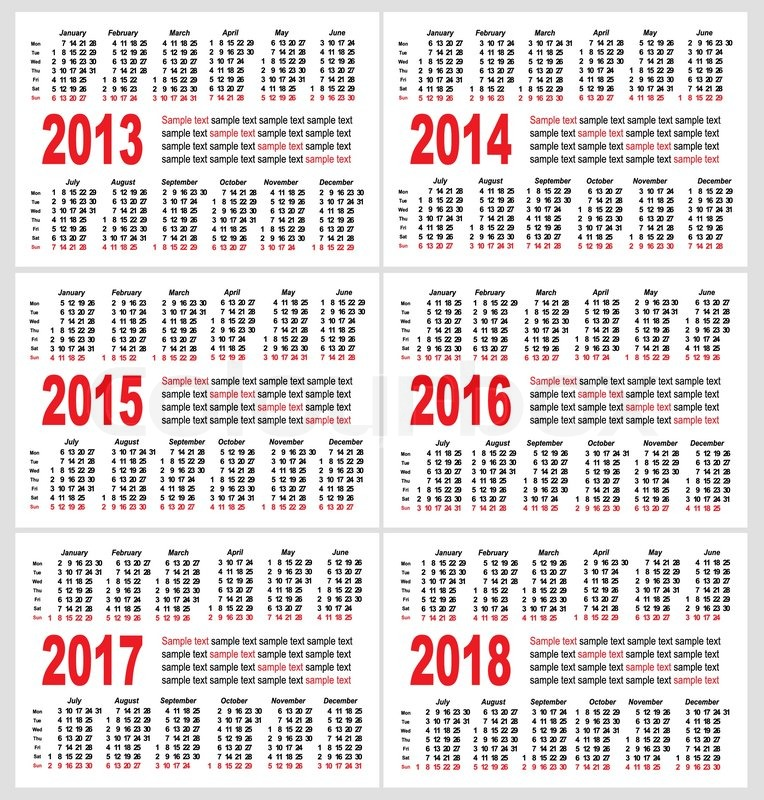 Set of 2013 1214 1215 1216 1217 1218 year, Calendar grid pocket