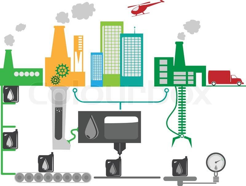 Oil industrielle Fabrik schematische Darstellung | Vektorgrafik ...