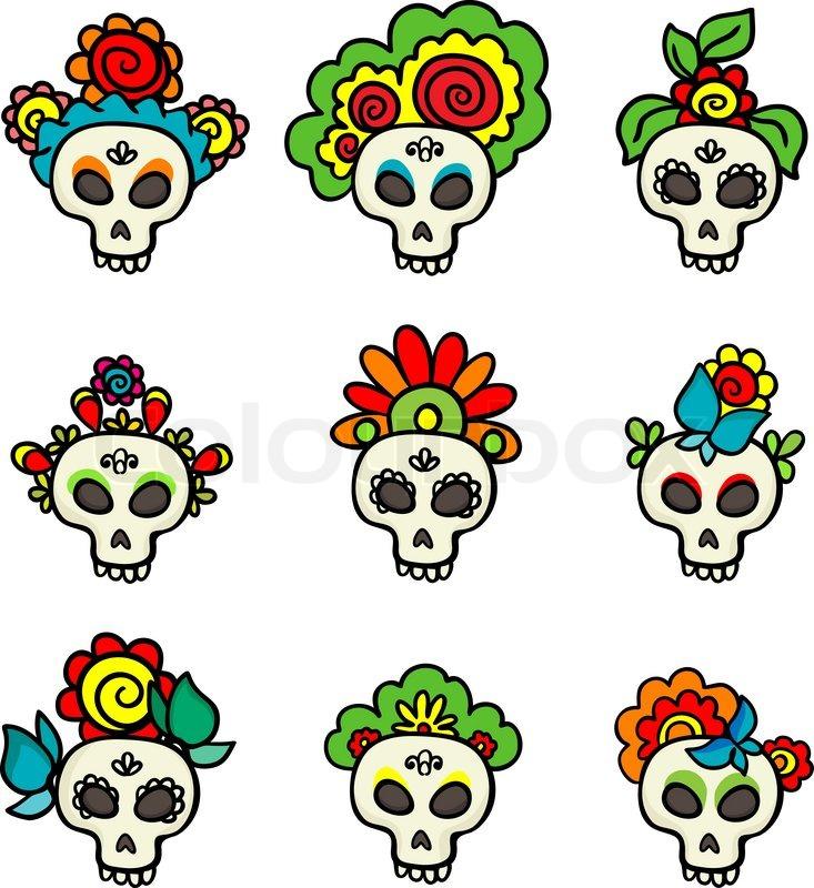 Set With Skulls Catrinas Stock Vector Colourbox