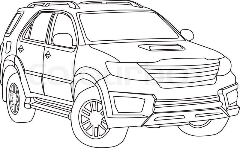 Suv Car Outline Vector Stock Vector Colourbox