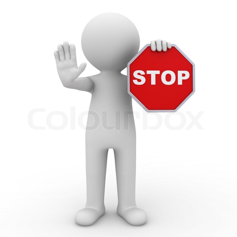 3d man making stop sign on white background | Stock Photo ...