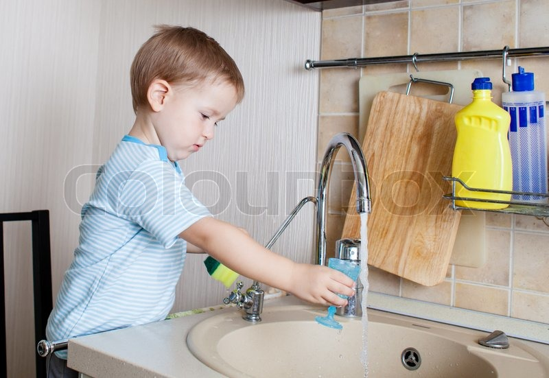 Little Boy Washing Dishes Little Child Boy Washing Dish