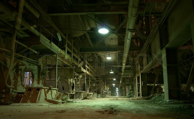 Old Creepy Dark Decaying Dirty Factory Stock Photo
