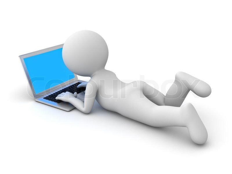 3d Man Lying Down And Using Laptop Computer Isolated On
