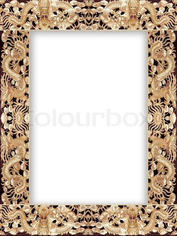 Pattern of gold dragon frame | Stock Photo | Colourbox