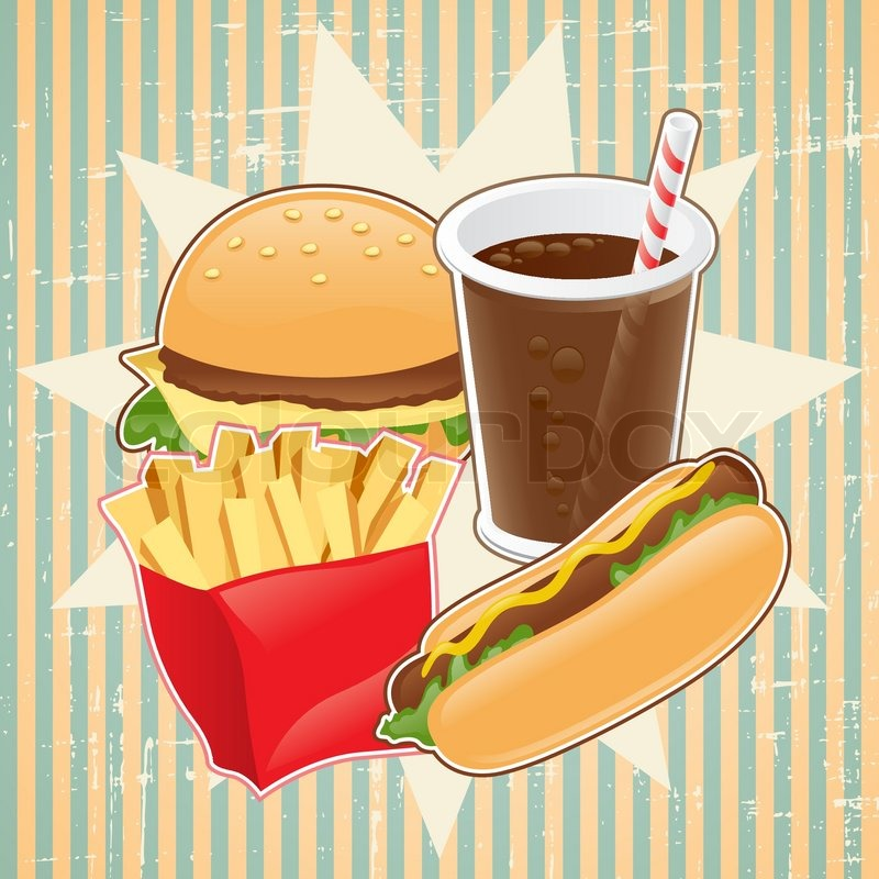 Retro Background With Fast Food Stock Vector Colourbox