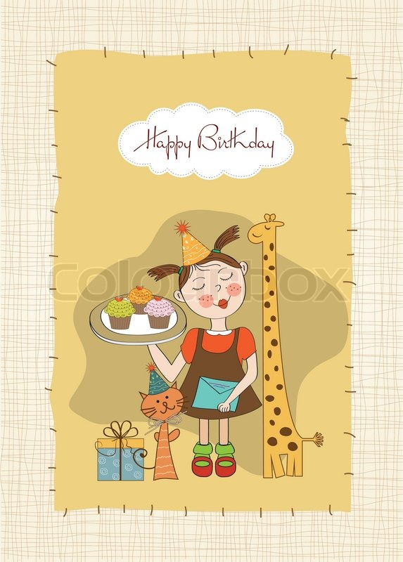 Happy Birthday Card With Funny Girl Animals And Cupcakes Stock Vector Colourbox