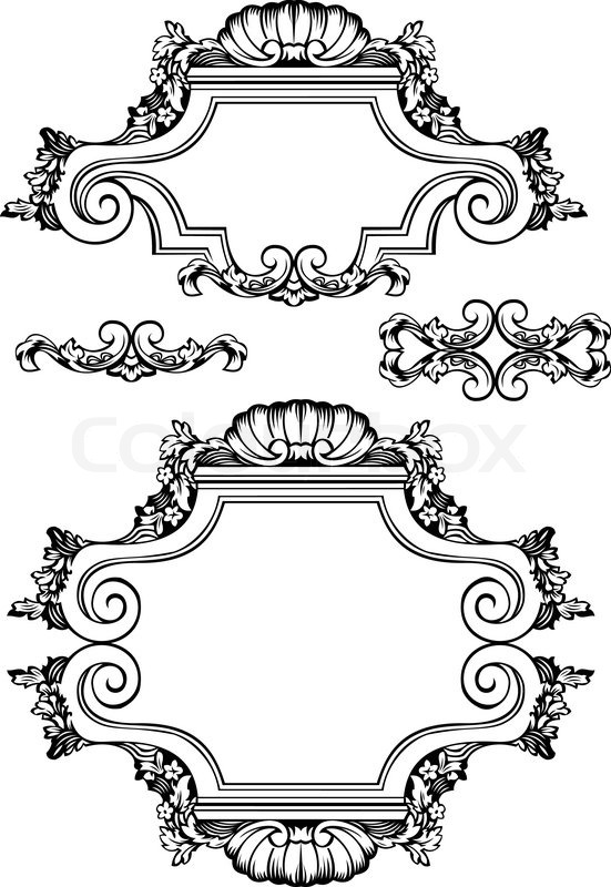 Vector Antique Vintage Frames And Elements Isolated On