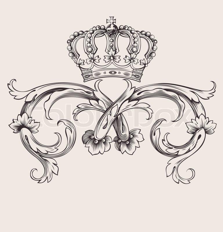 One Line Ascii Art Crown : One color royal crown vintage curves banner stock vector