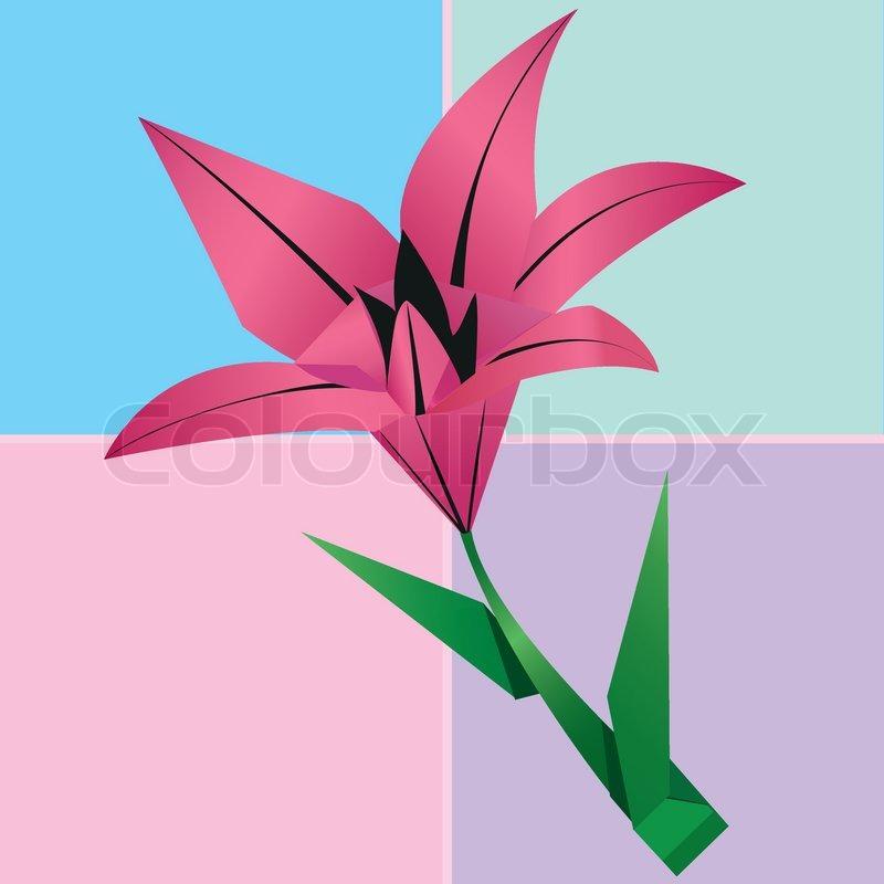 origami lilie blume karte bunt floral background vektorgrafik colourbox. Black Bedroom Furniture Sets. Home Design Ideas