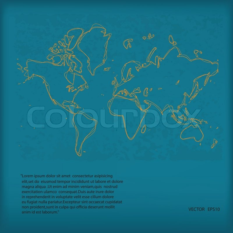 Stock vector of 'Hand Drawn Vector World Map on Green Grunge Paper,Eps10'