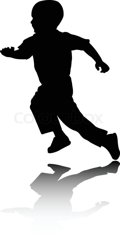 Boy running silhouette - vector | Stock Vector | Colourbox