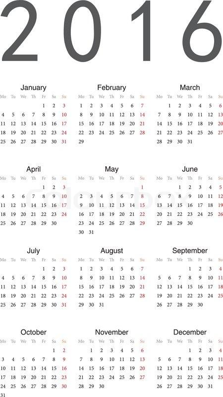 Einfacher Kalender 2016 | Stock-Vektor | Colourbox