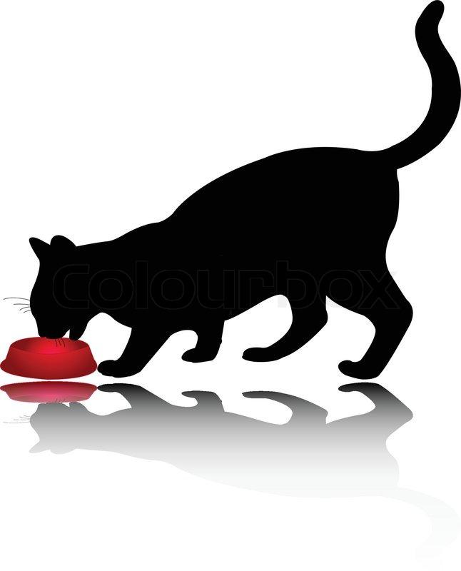 Cat Eating Grass Clip Art