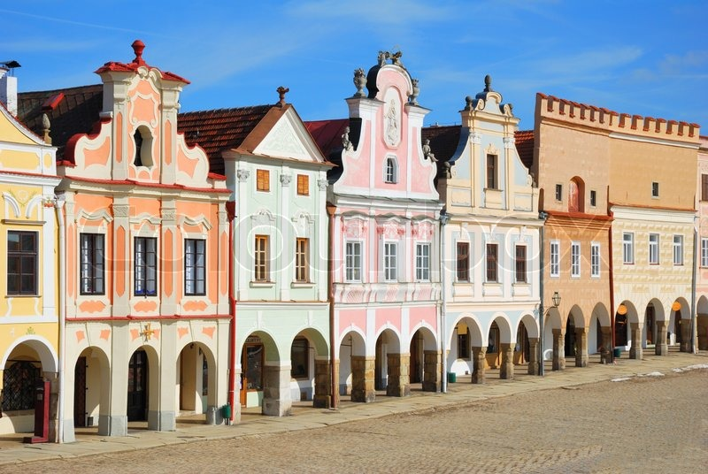 stadtplatz in telc mit renaissance und barock bunte h user stockfoto colourbox. Black Bedroom Furniture Sets. Home Design Ideas