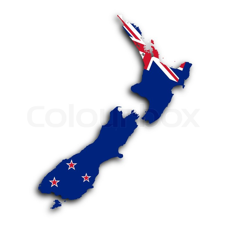 Map Of New Zealand Filled With The Stock Image Colourbox