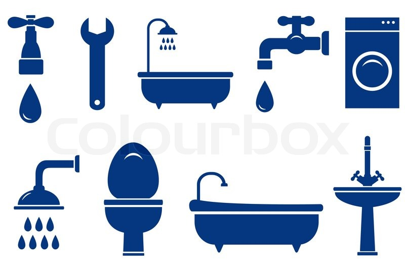 Plumbing Engineering Set With Isolated Bath Objects On