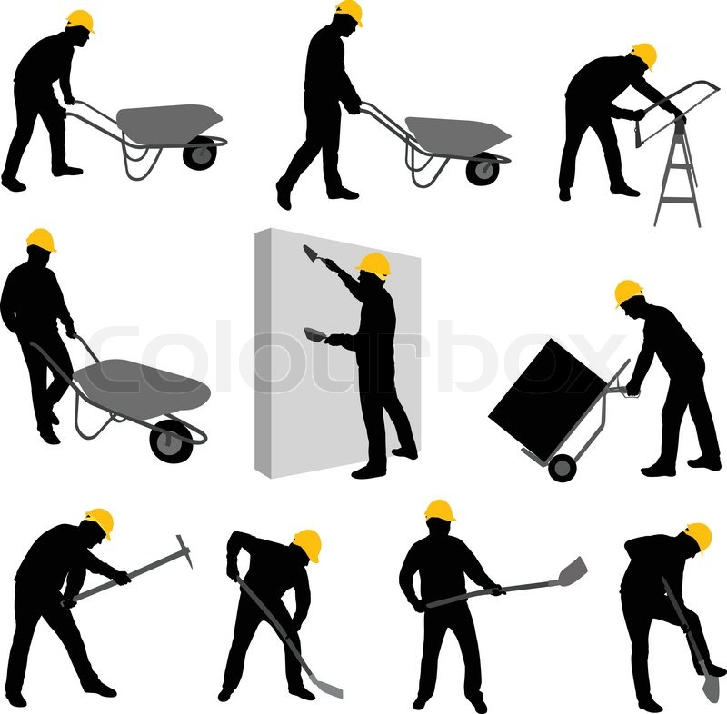 Construction Worker Hammer Silhouette Construction Workers Silhouettes Vector Vector