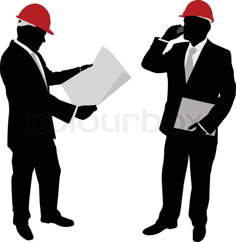 Foreman Builders Mail: Businessmen With Hard Hat Silhouettes - Vector