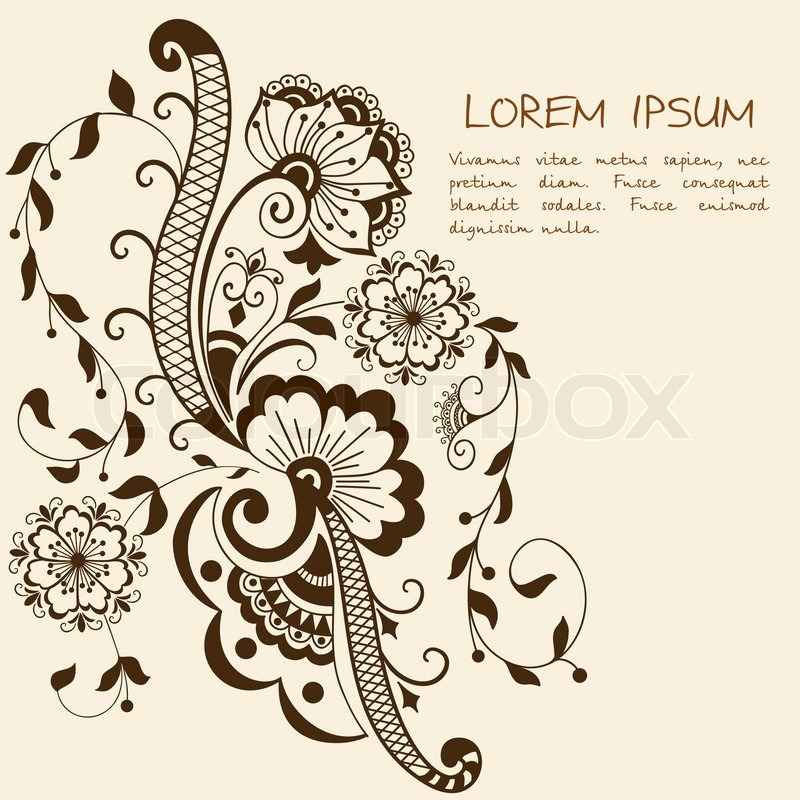 vector abstract floral elements in indian mehndi style abstract henna floral vector. Black Bedroom Furniture Sets. Home Design Ideas