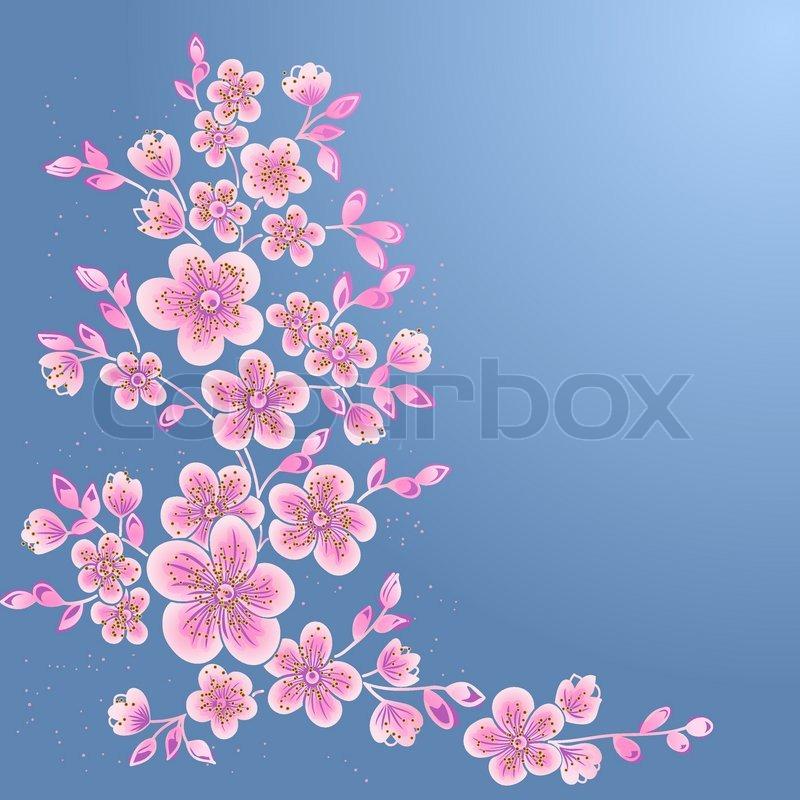 Sakura Blossom Japanese Cherry Tree Stock Vector Colourbox