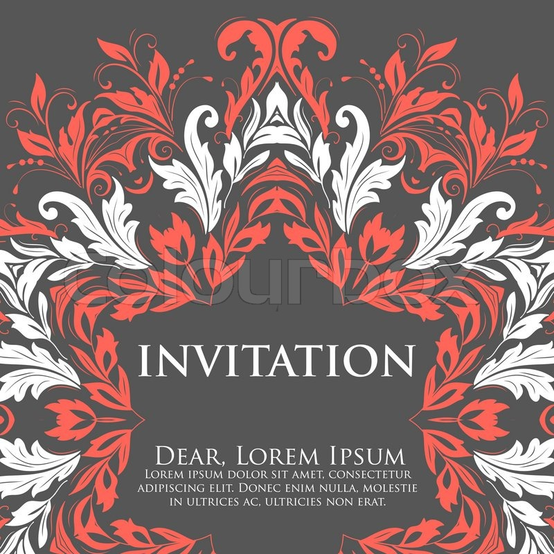 Vector invitation card with ornamental round lace with damask and stock vector of vector invitation card with ornamental round lace with damask and arabesque elements stopboris Images