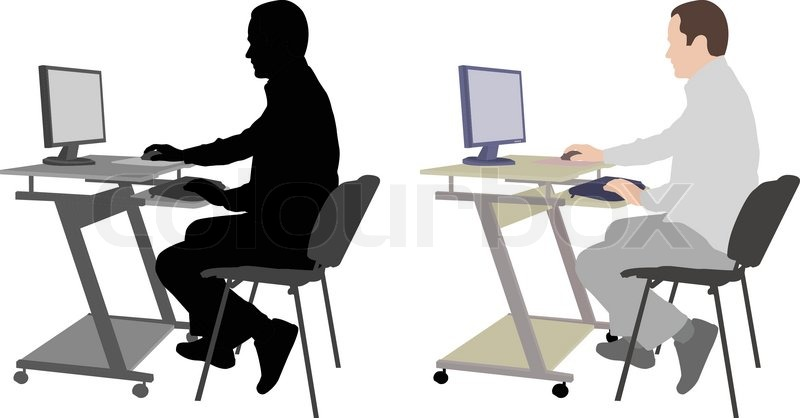 Man Sitting In Front Of Computer Vector Stock Vector